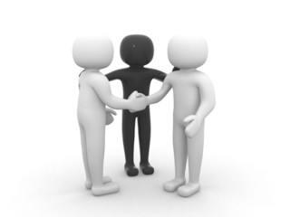 3d people - person together. Business team joining hands concept