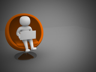 3d white people global manager seated on a chair with laptop, is