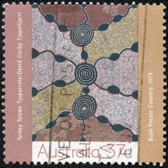 stamp printed in Australia shows Aboriginal painting