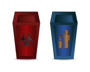 Red and Blue Recycle Bin