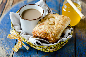 Breakfast. Coffee and puff bun