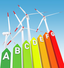 Energy Efficiency Bar Chart and Wind Turbine