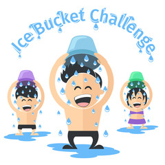 Ice Bucket Challenge concept Vector. Cold water on head.