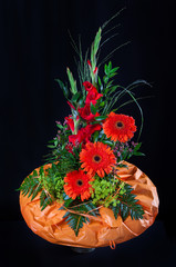 Autumn Still life with gerbera and gladiolus flowers
