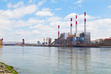 Colorful Power Generating Station near the river.