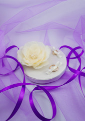 beautiful wedding pillow with a ribbon for wedding rings