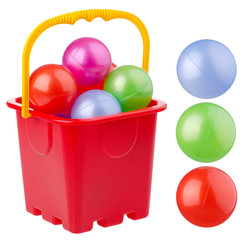 beach red bucket with colored balls