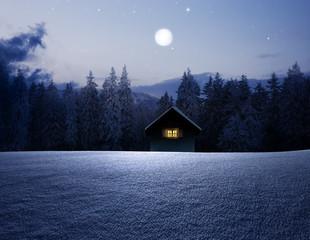 Schihütte bei Vollmond