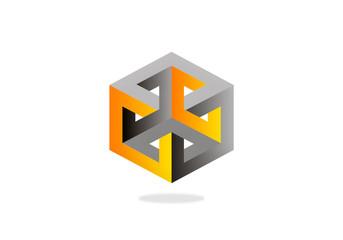 3D construction technology geometry vector logo