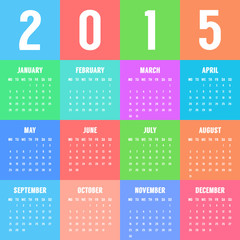 european colorful calendar of 2015 year