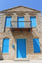 traditional greek house facade