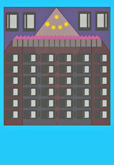 Appartments building illustration. Holiday appartments.