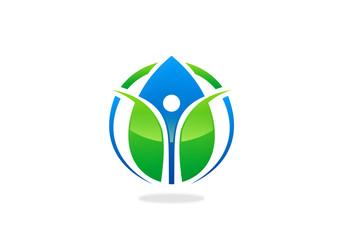 green ecology blue water drop health people logo