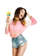 Pleasure. Cute Young Woman with Ice Cream Enjoying Life