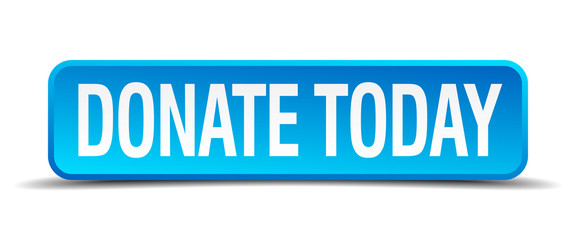 donate today blue 3d realistic square isolated button