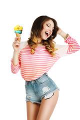 Pleasure. Cute Young Woman with Ice Cream Enjoying Life