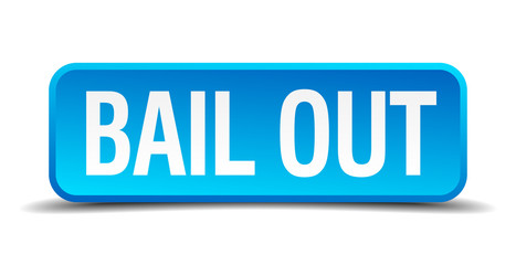 bail out blue 3d realistic square isolated button