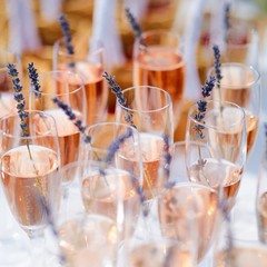 Lots of glasses filled with pink champagne