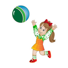 girl in a sundress plays the ball
