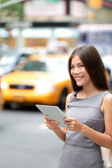 Tablet computer business woman in New York City