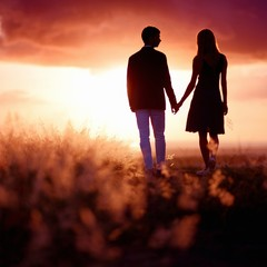 Young couple enjoying the sunset