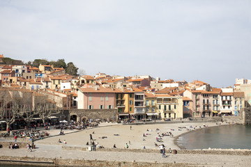 beach and port collioure, south of france