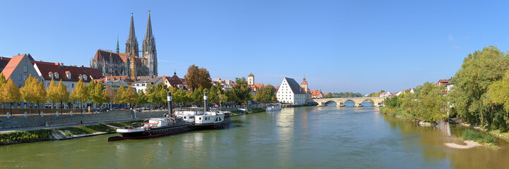 Panoramic view on Danube river with Regensburg Cathedral