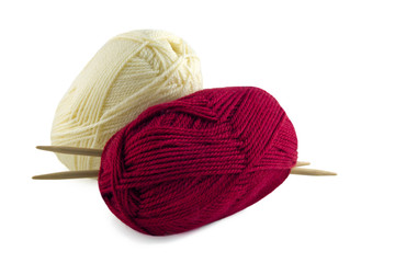 knitting, colored skeins