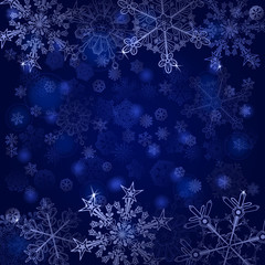 Background of snowflakes in blue colors