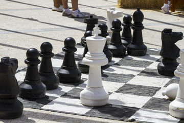 Giant chess games in the street with large pieces