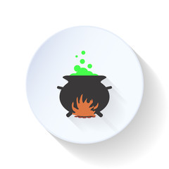 Cauldron with magical broth flat icon