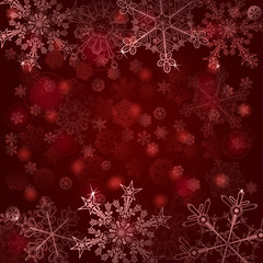 Background of snowflakes in red colors