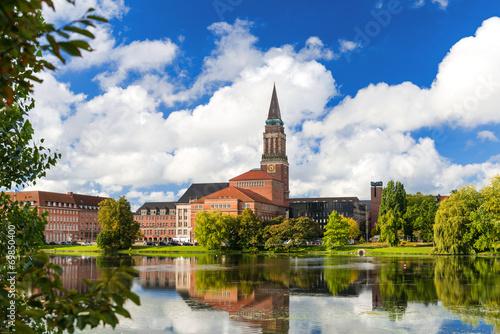 canvas print picture Kiel am Kleinen Kiel mit Rathausturm und Opernhaus  3431