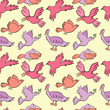 Hand Drawn Color Birds Seamless