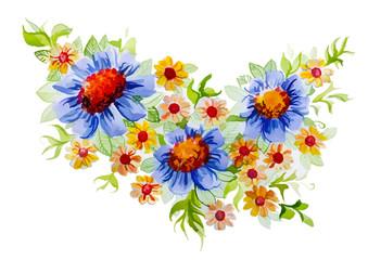 beautiful bouquet of flowers growing on meadow
