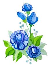beautiful blue flowers with leaves