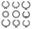 Set of silhouette circular laurel wreaths