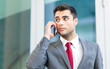Businessman talking at the phone