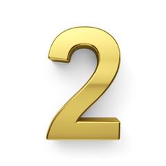 3d render of golden digit simbol - 2