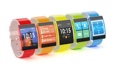 Smart watches with different colors and interfaces