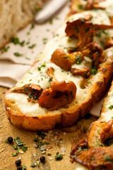 Bruschetta with chanterelles, mozzarella cheese and parsley