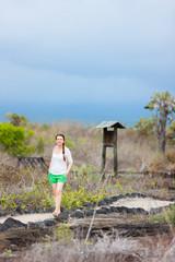 Young woman hiking at Galapagos islands
