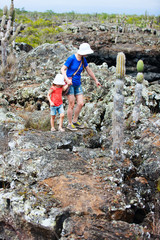 Mother and daughter hiking at Galapagos islands