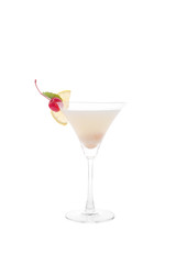 Cocktails on white background.