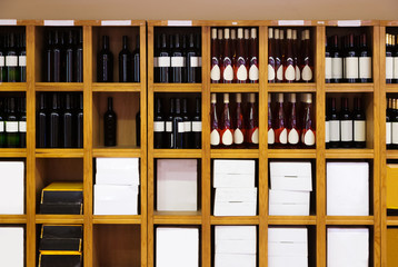 Shelvings with wine bottles