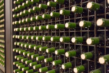 wine glass  bottles in winery