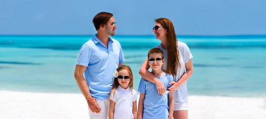 Family on tropical vacation