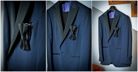 Wedding ultramarine suit and black bow. Formal groom suit