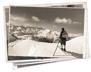 Vintage photos with skier