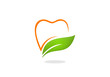 teeth dentist natural herbal vector logo